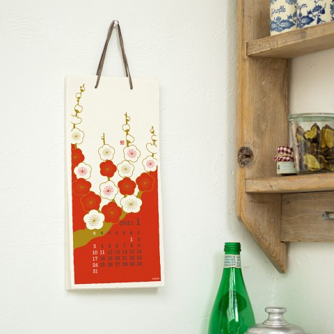 Calendar Wall-Hanging Echizen Paper S Flower