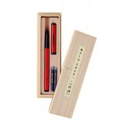 Akashiya Bamboo Fude Pen - Barrel:Red