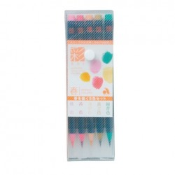 Akashiya Watercolor Brush Pen Sai - 5 Color Set Spring