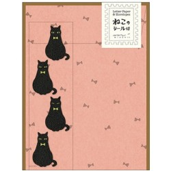 Midori Animal Motif Letter Set - Black Cat