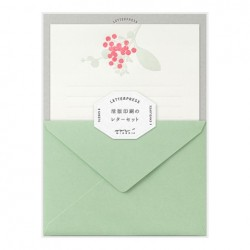 Midori Letterpress Letter Set - 460 Press Bouquet Red