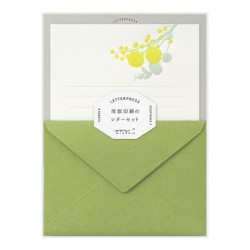 Midori Letterpress Letter Set - 461 Press Bouquet Yellow