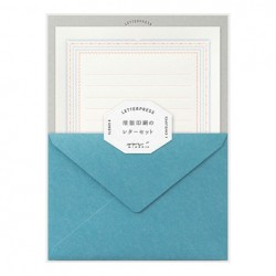 Midori Letterpress Letter Set - 463 Press Frame Blue