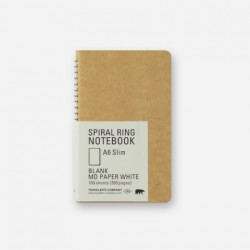 TRC Spiral Ring Notebook - A6 Slim - Blank Md Paper White