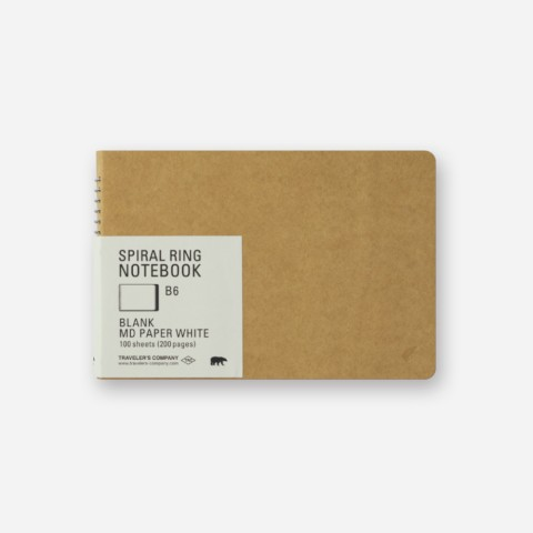 TRC Spiral Ring Notebook - B6 - Blank Md Paper White