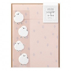 Midori Animal Motif Letter Set - Long-Tailed Tit w/ Sticker