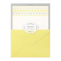 Midori Letterpress Letter Set - Flower Line Yellow