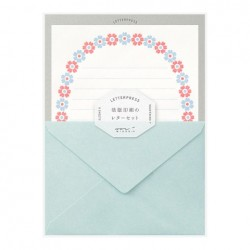 Midori Letterpress Letter Set - Flower Frame Light Blue