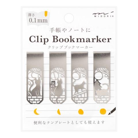 Midori Bookmarker Clip - Cat & Moon