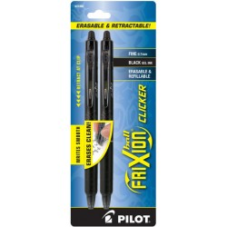 Pilot Frixion Ball Clicker Erasable 0.7mm Pack of 2 - Ink:Black