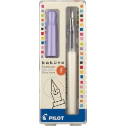 Pilot Kakuno Fountain Pen - Fine Nib White Barrel/Purple Cap