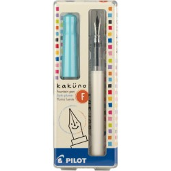 Pilot Kakuno Fountain Pen - Fine Nib White Barrel/Turquoise Cap