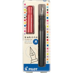 Pilot Kakuno Fountain Pen - Medium Nib Gray Barrel/Red Cap