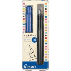 Pilot Kakuno Fountain Pen - Medium Nib Gray Barrel/Blue Cap