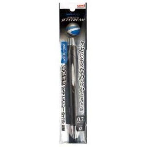 Uni Jetstream Ballpoint Pen Rubber Body 0.7mm - Ink:Black Barrel:Metallic Black