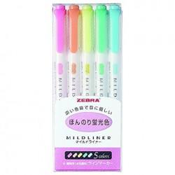 Zebra Mildliner - 5 Color Set