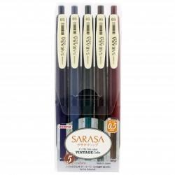 Zebra Sarasa Clip Vintage Color 0.5mm - Vintage 5 Color Set #1